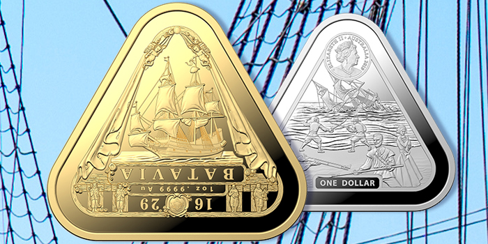 Batavia Shipwreck: Gold & Silver Triangular Investment Coins From Royal Australian Mint