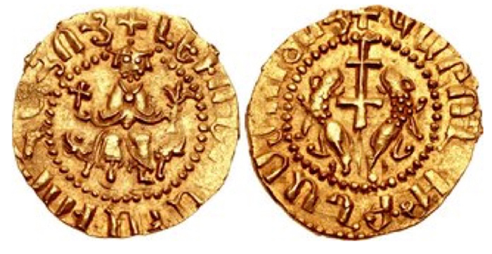 Cilician Armenia. Royal. Levon I. 1198-1219. AV Half Tahekan (19.5mm, 2.46 g, 11h). Levon enthroned facing, holding cross in right hand and branch in left / Patriarchal cross flanked by two lions, heads reverted. Nercessian, Gold III.a (this coin); AC 255 (this coin illustrated); Bedoukian 6 var. (rev. legend); Friedberg –. EF, toned. Extremely rare – the only example known