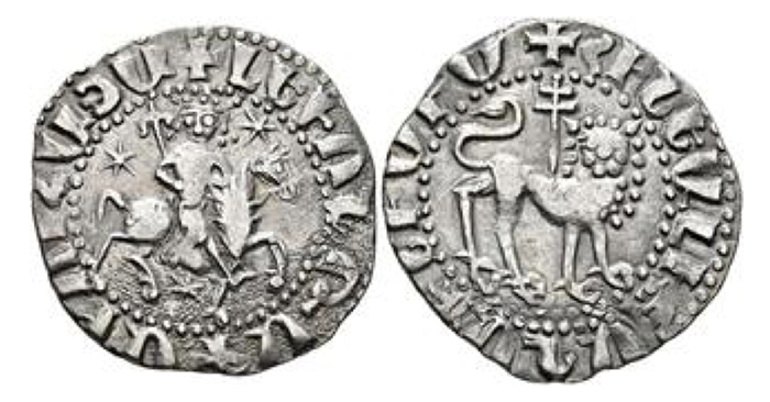 Cilician Armenia. Royal. Levon II, 1270-1289. Tram (Silver, 21 mm, 2.64 g, 8 h). King right on horseback; holding scepter; three stars around. Rev. Crowned lion advancing right, head facing; patriarchal cross behind. AC 376. Very fine.