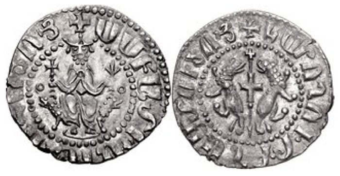 Cilician Armenia. Smpad. 1296-1298. AR Tram (22mm, 3.05 g, 1h). Coronation issue. Smpad seated facing on throne decorated with lions, holding cross and lis, with feet resting upon footstool; annulet to left and right / Two lions rampant back-to-back, each with heads reverted; between, cross pattée set on reversed cruciform spear. AC 407 var. (obv. legend); CCA 1653a; Bedoukian, Silver 3-6 var. (cross type). Near EF