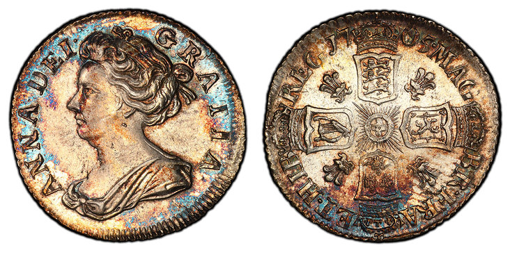 GREAT BRITAIN. England. Anne. (Queen, 1702-1714). 1705 AR Sixpence. NGC MS63. Images courtesy Atlas Numismatics