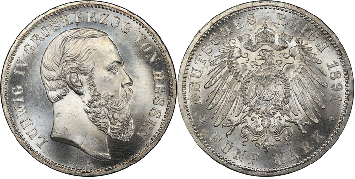 GERMAN STATES. Hesse-Darmstadt. Ludwig IV. (King, 1877-1892). 1891-A AR 5 Mark. PCGS MS65+. Berlin. Images courtesy Atlas Numismatics