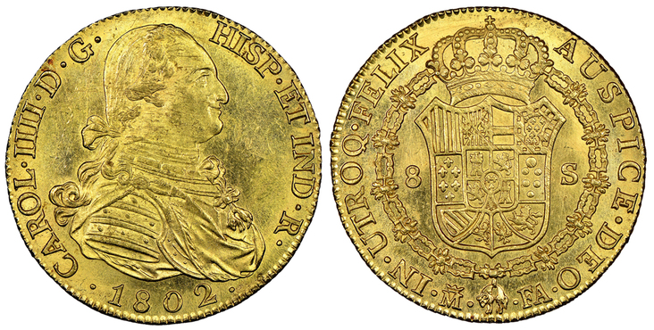 SPAIN. Charles IV. 1802-(Crowned-M) FA AV 8 Escudos. NGC MS64.Images courtesy Atlas Numismatics
