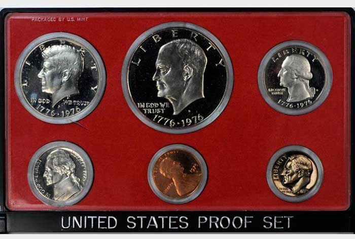 "United States Proof Set with 1975 ""No S"" Roosevelt dime. Dime sold for $349,600 at an August 2011 Stack's Bowers auction."
