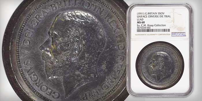 Mike Byers Mint Error News - NGC Certifies Unique Great Britain Lead Die Trial