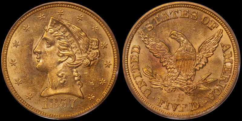 1857-S $5.00 PCGS MS62. Images courtesy Doug Winter