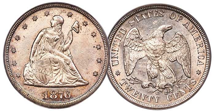 1876-CC 20¢ MS64 CAC - Imaged by Heritage Auctions