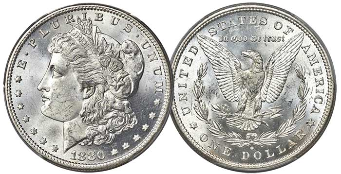 1880-O Morgan Silver Dollar in MS-65