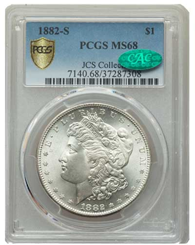 1882-S Morgan Dollar in PCGS MS68 CAC - Imaged by Heritage Auctions