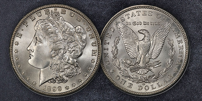 1899-O Morgan Silver Dollar in PCGS MS-67+ at GreatCollections.com
