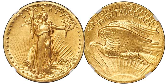 "1907 Saint Gaudens ""High Relief"" Double Eagle in NGC MS63 CAC - Imaged by Heritage Auctions"