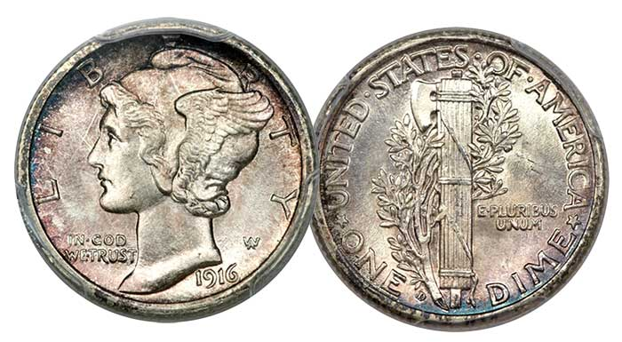 1916-D Mercury Dime in MS-66 FB