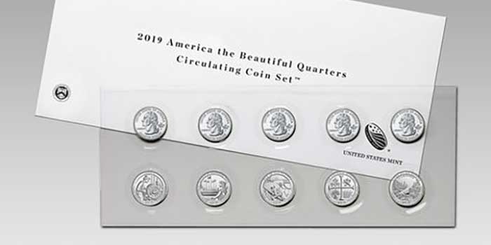 America the Beautiful Quarters 2019 Circulating Coin Set on Sale October 9