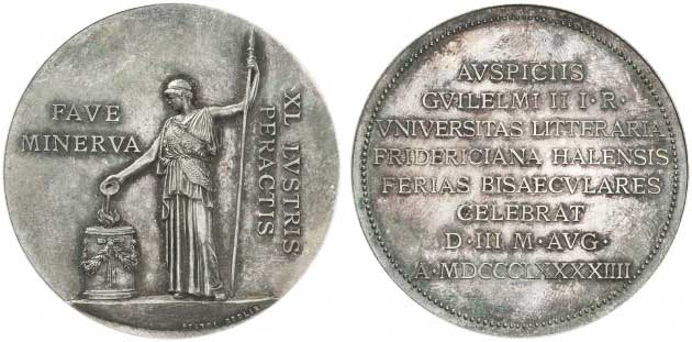 Lot number 8586 Saxony Halle (Saale). Silver medal 1894. In original case. Almost uncirculated. Estimate: 100 euros