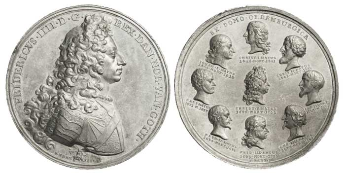 Lot number 8013 Kingdom of Denmark Frederik IV, 1699-1730. Tin medal n.d. (1706). Very rare. Extremely fine-uncirculated. Estimate: 500 euros