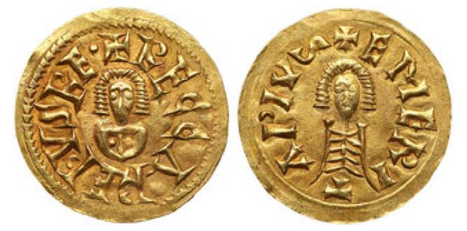 Reccared I, Gold Tremissis (1.4g), AD 586-601. Merida. +RECCREDVSRE, bust facing. Reverse: +EMERIT~, bust facing. Grierson 219; Miles 94(d)2. Lightly toned. Extremely Fine. Estimated Value $1,000 - 1,200.