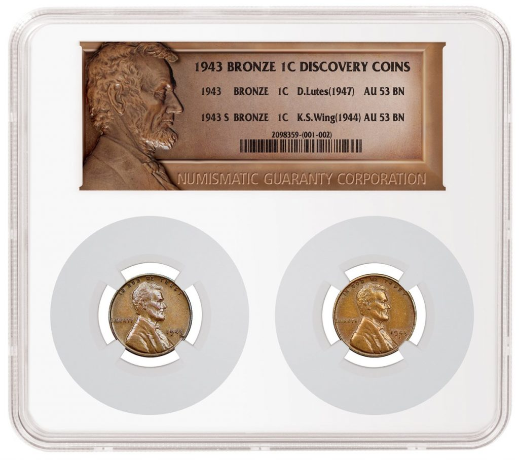 1943 bronze Lincoln cent discovery coins in one NGC holder