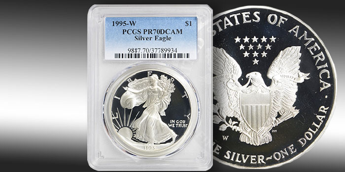 Key Date 1995-W Proof Silver Eagle in PR70 DCAM Offered at GreatCollections.com