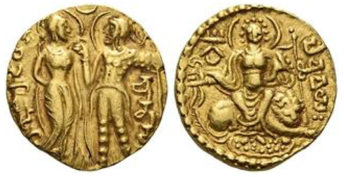 Chandragupta I. Dinar, King and Queen type, circa 319-343, AV 7.61 g.