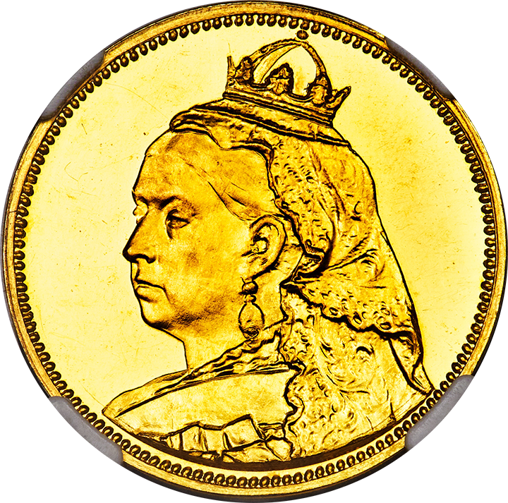 (1887) Great Britain Queen Victoria Lauer Victoria Pattern in Gold Obverse Die Trial - Uniface 10.16gr Gold, 27.2mm Ex. Murdoch Collection (1904) NGC Medal PF 63 Cameo UNIQUE. Image courtesy Mike Byers
