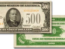 $500 Gold Certificate offered in Stack's Bowers November 2019 Whitman Baltimore Coin and Collectibles Expo Auction