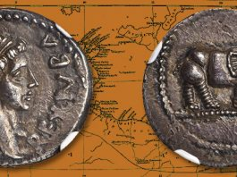 Silver Denarius of Juba II offered at NYINC 2020 by Stack's Bowers Auctions