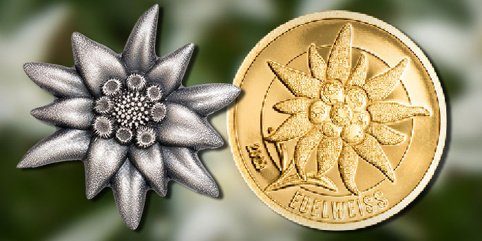 Gold, Shaped Silver Coins From CIT Celebrate Edelweiss Flower