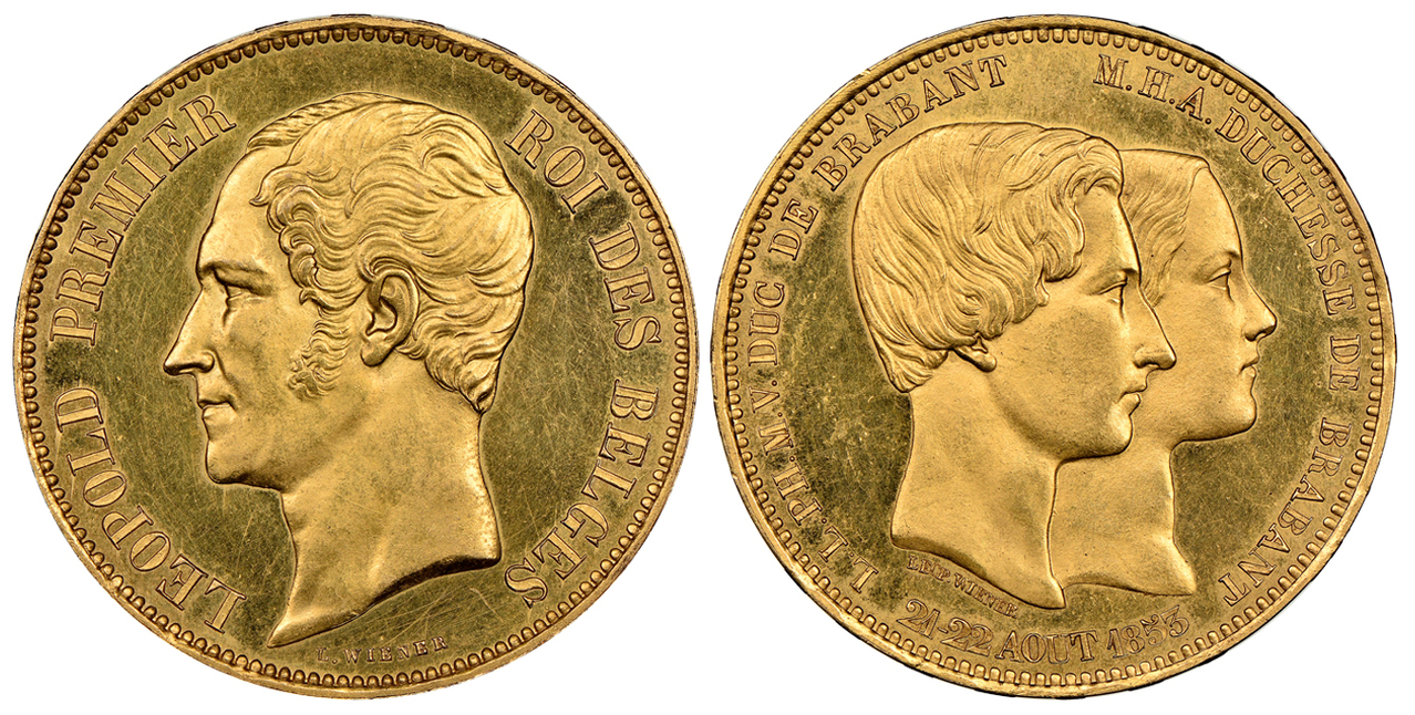 BELGIUM. Leopold I. (King, 1831-1865). 1853 AV 100 Francs. NGC PR62. Images courtesy Atlas Numismatics