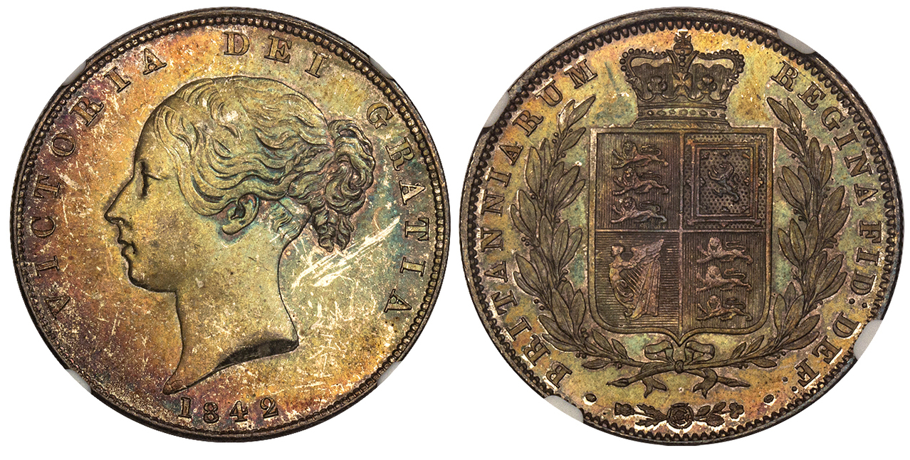 GREAT BRITAIN. Victoria. (Queen, 1837-1901). 1842 AR Halfcrown. NGC MS64. Images courtesy Atlas Numismatics