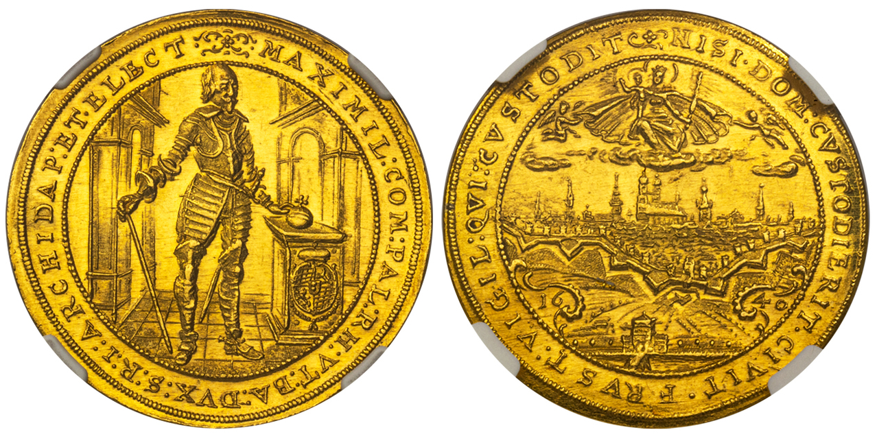 GERMAN STATES. Bavaria. Maximilian I. (Elector of Bavaria, 1573-1651). 1640 AV 5 Ducat. NGC MS64. Images courtesy Atlas Numismatics
