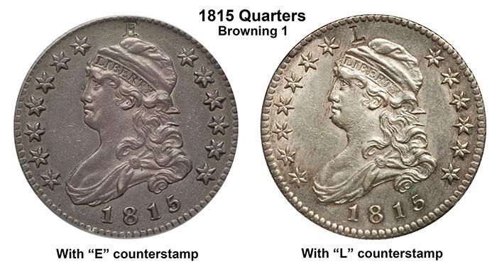 1815 Capped Bust quarter dollars with E & L Counterstamps