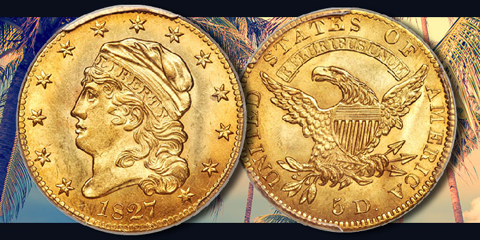 Heritage Auctions - Choice 1827 Capped Head Half Eagle to be Offered at FUN
