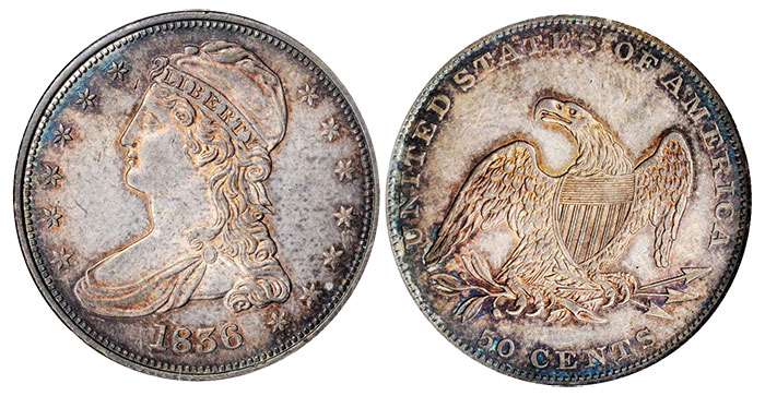 1836 Capped Bust Half Dollar. Reeded Edge. 50 CENTS. GR-1, the only known dies. Rarity-2. MS-61 (NGC). CAC. OH.
