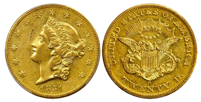 1851-O Liberty Head Double Eagle. Winter-2. AU-55 (PCGS). CAC. Imaged by Stack's Bowers