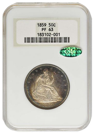 1859 Liberty Seated Half Dollar. WB-102. Type II Reverse. Proof-63 (NGC). CAC. OH.