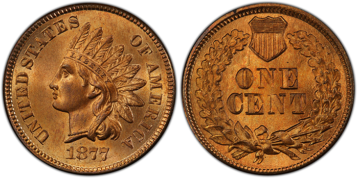 1877 Indian Head Cent - PCGS MS66+ - Image Courtesy of PCGS.