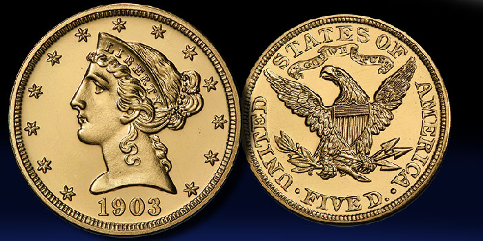 1903 Gold half eagle at GreatCollections auction. Image: PCGS