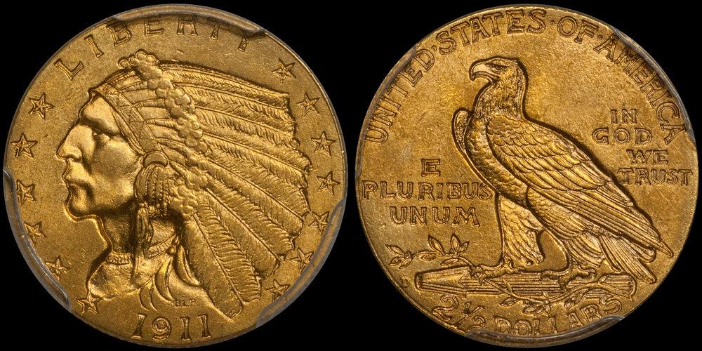 1911-D STRONG D gold $2.50 PCGS MS64+ CAC. Images courtesy Doug Winter Numismatics