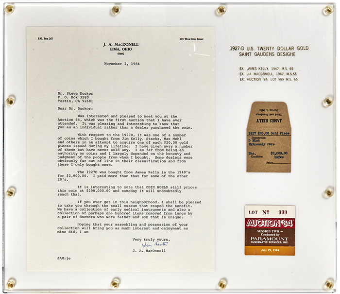 J.A. MacDonnell letter to Steve Duckor. Imaged by Heritage Auctions