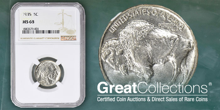 Top Pop 1935 Buffalo Nickel in NGC MS-68 Offered by GreatCollections