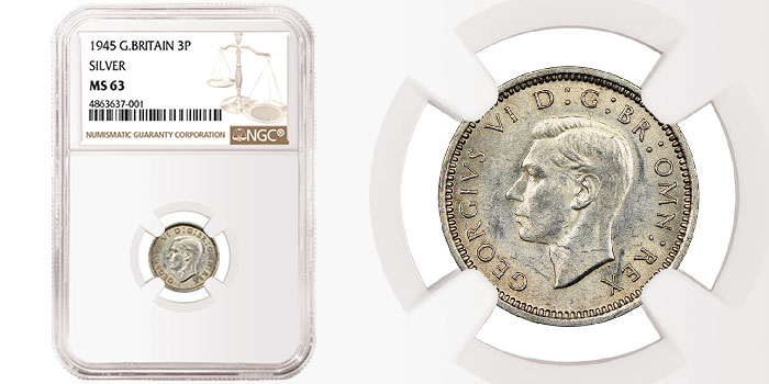One of Only Two Known Surviving 1945 Silver Threepence Coins Surfaces