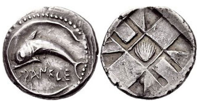 Zancle-Messana, Chalcidian drachm circa 500-495, AR 5.76 g. DANKLE Dolphin swimming l. within the sickle-shaped harbour of Messana. Rev. Mussel shell with nine squares, partly incuse and partly raised. SNG ANS 301. Gielow 63ff. Ex Sotheby's Wilkinson & Hodge 18 December 1918, Sir Thomas-Stanford, 231. Numismatica Ars Classica Auction 59. 4 April 2011. Lot : 522.