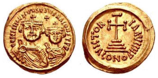 Heraclius with Heraclius Constantine. AV Solidus (21mm, 4.35 g, 5h). Ravenna mint, 8th officina. Struck 613. Crowned and draped facing busts of Heraclius and Heraclius Constantine; cross above / Cross potent set on three steps; H//CONOB. DOC 271b; MIB 110a³ (same rev. die); Ranieri 538; SB 896; Berk, Roman 137 (this coin)