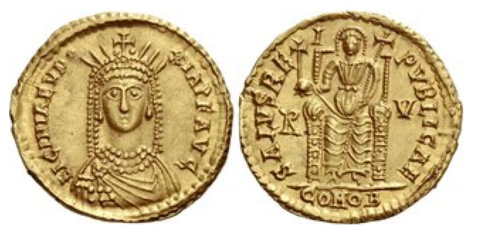 Licinia Eudoxia, daughter of Theodosius II and wife of Valentinian III. Solidus, Ravenna after 6th August 439, AV 4.43 g. LICINIA EVD – OXIA P F AVG Draped bust facing, wearing pearl necklace and a radiate crown. Rev. SALVS RE – I PVBLICAE Empress, nimbate, enthroned facing, holding cross on globe in r. hand and long cruciform sceptre in l.; in field, R – V. In exergue, COMOB. C 1. RIC 2023. Biaggi 2356 (this coin). LRC 870. Lacam vol. I, pl. V (this coin). Depeyrot 16/2.