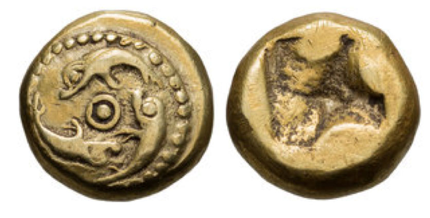 Phocaea; 600 BCE, EL Hecte, 2.59g. Bodenstedt-29. Obv: Three seals swimming around central ringed pellet. Rx: Irregular incuse.This is one of the earliest issues of Phocaea . EF