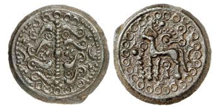 "SUESSIONES. Potin,""branch/ horse"" type , 110/50 BCE, 5.86 g."