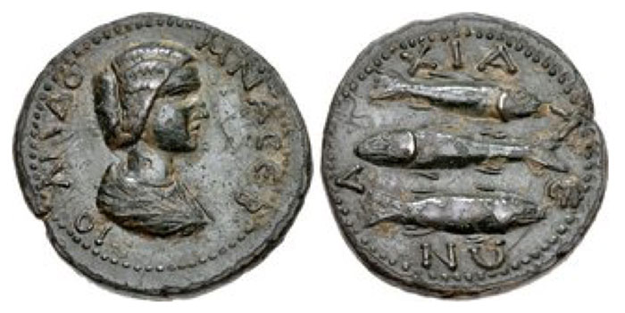 THRACE, Anchialus. Julia Domna. Augusta, AD 193-217. Æ (25mm, 9.84 g, 2h). Draped bust right / Three fish: top and bottom to right, middle to left. AMNG II 509; Mouchmov -; Varbanov 304. Good VF, black-green patina with olive overtones.