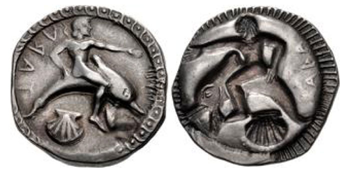 Tarentum. Circa 510-500 BCE. AR Nomos (22.5mm, 8.01 g, 11h). Taras, nude, riding dolphin right, extending left hand, right hand resting on dolphin's back; TARAS (retrograde) to left, scallop shell below, dot-and-cable border around / Incuse of obverse type; [T]ARA[S] in relief to right, radiate border around. Fischer-Bossert Group 1, – (V7/R8 – an unlisted die combination); Vlasto 68 = Kraay & Hirmer 294
