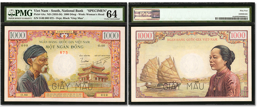 Highly Coveted South Vietnam 1000 Dong Specimen Note Offered in Stack's Bowers NYINC Auction