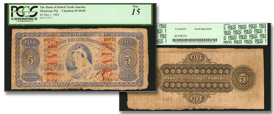1884 Bank of British North America 5 Dollar banknote offered at Stack's Bowers Galleries New York International Numismatic Convention (NYINC) Auction.